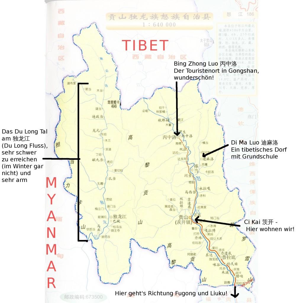 Karte von Gongshan